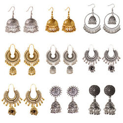 Indian Jhumka Traditional Earrings Gold Silver Jewelry for Women Free Shipping $6.49