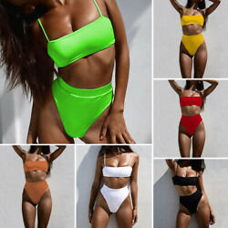 High Waist Bikinis Women Swimsuit Solid Bandeau Swimwear Bikini Set Bathing Suit $4.99