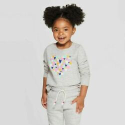 Cat amp; Jack Gray 3T Toddler Girls Long Sleeve Sweatshirt NEW with Tags $8.95