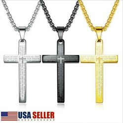 Men Silver Gold Stainless Steel Lord#x27;s Prayer Bible Cross Pendant Necklace Chain $7.58