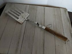 Stainless Steel Slotted Spatula Wood handle 14quot; Pan Hook Advertising $19.98