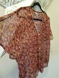 Converse One Star Target Watercolor Blouse Top Shirt Sz Large L Effortless on $5.00