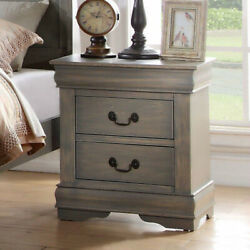 Louis Philippe Nightstand in Antique Nightstand Bedside Table 2 Drawers End Side $105.88
