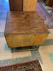 Electro lam Quality Maple Butcher Block Table With Mid Modern Metal Base $999.99