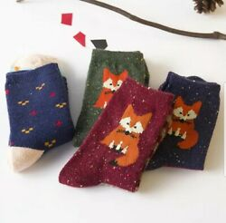 4 Pairs Wool Knitted Warm Women Socks Cute Fox Prints Free Delivery. $18.00