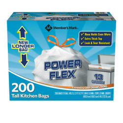 200 Trash Garbage Tie Drawstring TALL KITCHEN Bags 13 gallon White **Original** $22.02