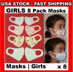 GIRLS 8 Pack Face Cover 3D Masks Washable Cloth Reusable Protective Kids ❤ Soft $7.49