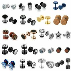 2PC Stainless Steel CZ Round Ear Stud Earrings Men Women Screw Back Earrings $6.99