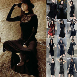 Women Gothic Dress Punk Grunge A Line Dark Halloween Party Vintage Casual Dress