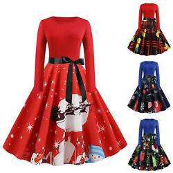 Women Long Sleeve Christmas Flared Swing A Line Dress Bowknot Party Plus $22.22