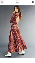 NWT Free People Heartland Velvet Maxi Dress Floral Open Back Maxi Dress XS $198 $89.00
