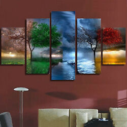 5 Panels Tree Of 4 Seasons Art Canvas Oil Painting Picture Print Decor Home Wall $21.89