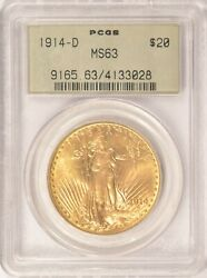 1914 D $20 Saint Gaudens Gold Double Eagle Coin PCGS MS63 Old Green Holder OGH $2650.00