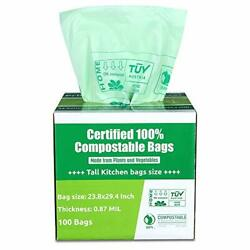 Compostable Bags 13 Gallon Tall Kitchen Biodegradable Trash Bags 100 Count $40.68