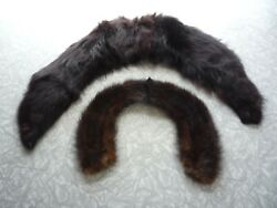Vintage Women#x27;s Real Fur Collar Stole LOT OF 2 Black amp; Mink For Coat or Sweater $14.00