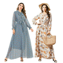 Kaftan Floral Print Summer Women Chiffon Long Sleeve Maxi Dress Holiday Sundress C $36.24