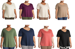 NEW TERRA amp; SKY WOMENS SUPER SOFT LONG LENGTH SHORT SLEEVE V NECK TOP PLUS SIZES $11.04