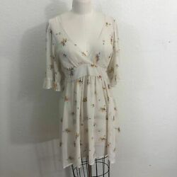 Betsey Johnson Vintage for Urban Outfitters Sheer Dress Sz M Beige Floral $24.00
