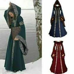 Women Vintage Victorian Renaissance Gothic Dress Medieval Dress Costume Hooded@