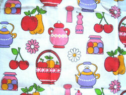 Vintage Heavy Fabric Retro Kitchen Bold Red Pink Purple WOW 72quot; Wide 45quot; long $21.99