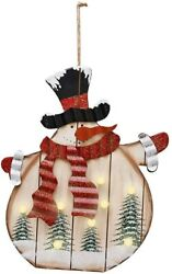 Snowman Wooden Sign Hanging Decor with Led Bulb Rustic Christmas Hanging Wall $29.99