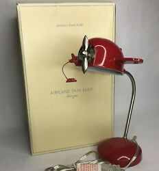 Airplane Lamp Pottery Barn Kids Bedroom Task Light Propeller Box Red Retired $49.99