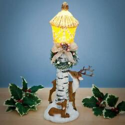 LED Lighted Christmas Lamp Post w Deer Wreath Bow amp; Glitter Accents 14quot;H $31.95