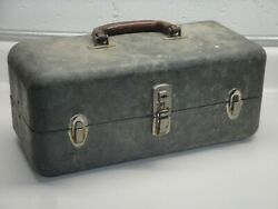 Vintage Metal Tackle Box RARE antique for fishing lures and tools $59.99