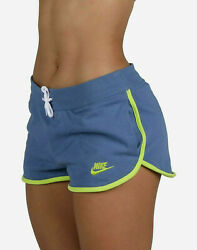 Nike WOMEN SPORTSWEAR CLASSIC HERITAGE FLEECE RUNNING SHORTS BLUE AR2414 458 $34.99