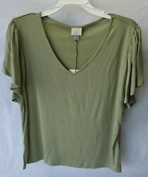 NWT Target quot;A New Dayquot; Women#x27;s Short Sleeve V neck Top Size M Olive $8.99
