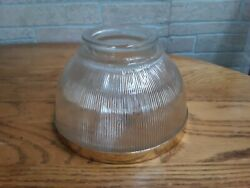 Vintage Holophane Ribbed Glass Floor Lamp Shade W Gold Color Rim 3 3 4quot; Fitter $24.99
