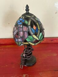 Vintage Table Top Stained Glass Type Small Lamp $25.00