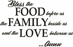 Bless The Food Before us The Family Beside us Amen Wall Decal Kitchen Art Decor $6.90