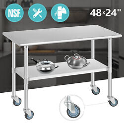 Commercial 24quot; x 48quot; Stainless Steel Kitchen Prep Work Table w 4 Casters NSF