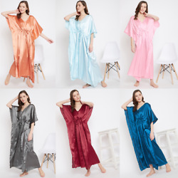 Women Plus Size Kaftan Satin Caftan Long Maxi Dress Kimono Sleeve Evening Gown $13.99
