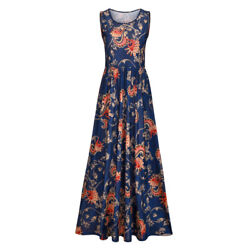 US Stock Jersey Sleeveless Printed Maxi Dresses Casual Long Dresses with Pockets $12.99