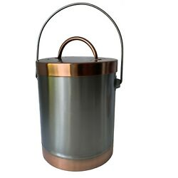 Mixed Metals Compost Crock Stainless Steel Copper 2 Tone Lid amp; Bottom Container $25.00