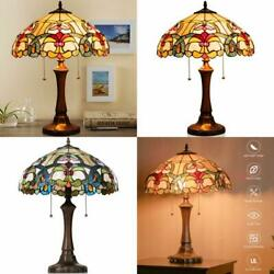 TIFFANY STYLE VICTORIAN 2 LIGHT TABLE LAMP WITH 16quot; STAINED SHADE $170.38