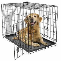 36quot; Dog Crate Kennel Folding Metal Pet Cage 2 Door With Tray Pan Black $50.99