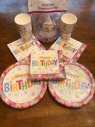 Cute Party supply paper goods birthday multicolor platesNapsCupsHats Cute $25.00