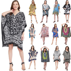 Women V Neck Mini Dress Holiday Beach Short Kaftan Tunic Bohemian Summer Dresses $11.99