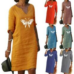 Women Boho Butterfly Print Tunic Dress Holiday Casual Loose Plus Dresses $21.37