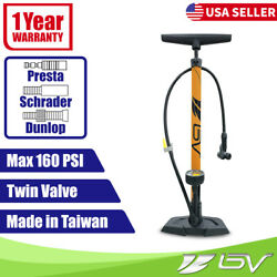 BV Bike Pump Floor With Gauge Presta Dunlop Schrader Tire Air Inflator 160PSI $26.99