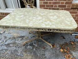 Vintage Desk Table With Wrought Iron Pedestal Legs Green Top $350.00