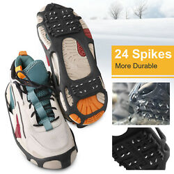 24 Teeth Ice Snow Grips Anti Slip Shoe Boot Studs Crampons Cleats Spikes Gripper $13.99