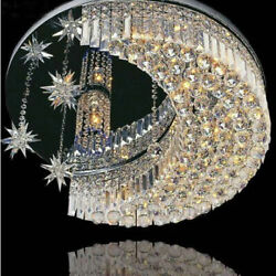 K9 Crystal Moon Star LED Flush Mount Ceiling Light Chandeliers Lighting Fixture $154.79