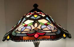 20quot; Staine Glass Tiffany Style Multicolored Flower Lamp Beaded Around Shade $99.99