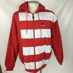 ADIDAS Vintage Jacket Red White Striped Hooded Zip Front Windbreaker Mens XL $34.99