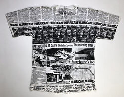 VINTAGE Hurricane Andrew All Over Print T shirt Men#x27;s Large 90s Single Stitch $46.95