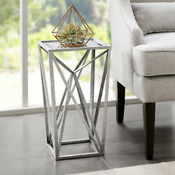 Silver Orchid Allison Silver Angular Mirror Accent Table $82.09